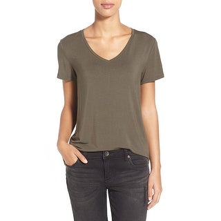 Link to A.L.C. Olive V Neck Linen Tee Similar Items in Tops