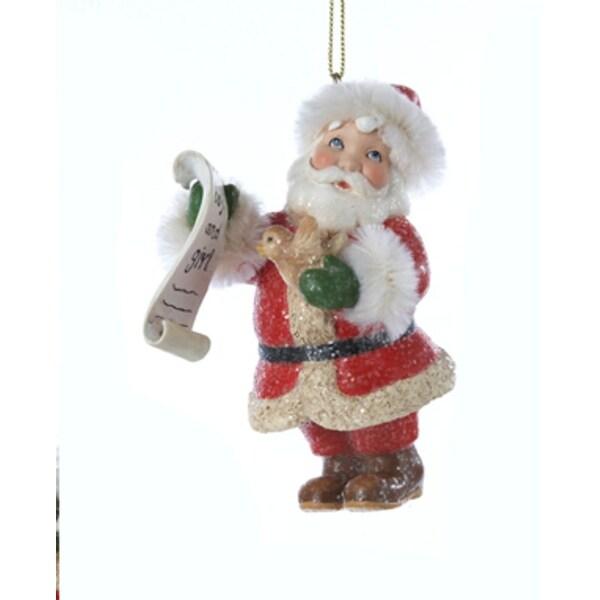 "3.5"" Vintage Santa Holding ""Good boys and girls"" List and Bird Christmas Ornament"
