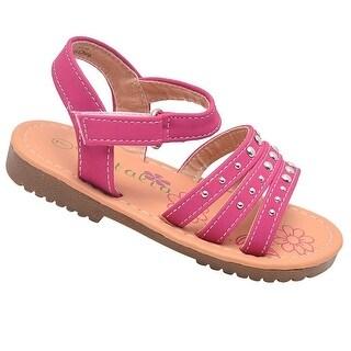 Petalia Girls Fuchsia Studded Hook-And-Loop Ankle Strap Sandals