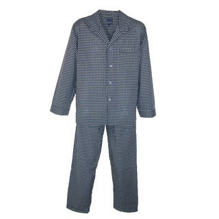 Majestic International Men's Big & Tall Easy Care Pajama Set - black check - 4X