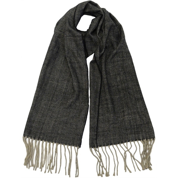 Winter Fall Cold Weather Cashmere Feel Herringbone Scarf, Black