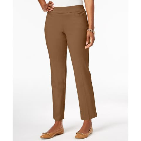 JM Collection Women's Pull-On Tummy Control Slim-Leg Pants Brown Size Large