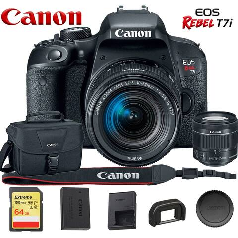 Canon EOS Rebel T7i DSLR Camera with 18-55mm Lens 1894C002, With Canon