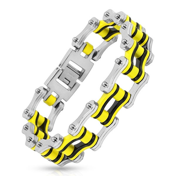 Motorcycle Chain with Black/Yellow Inner Plate Link 316L Stainless Steel Biker Bracelet (19.9 mm) - 9 in