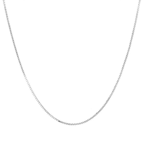 Mcs Jewelry Inc 14 KARAT WHITE GOLD SOLID BOX CHAIN NECKLACE (0.8MM)