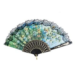 Unique Bargains Lady Floral Pattern Black Lace Rim Organza Folding Fan