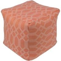 "18"" Orange and White Geometric Pattern Woven Decorative Outdoor Patio Pouf Ottoman"