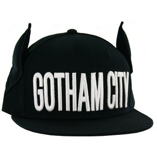 Batman Men's Gotham City Flat Brim Snap Back with 3D Ears, Black, One Size