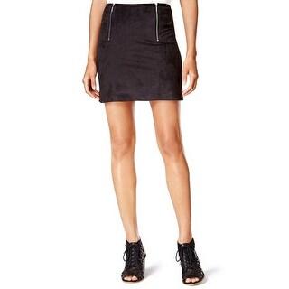 Kensie Faux Suede Zip Detail Mini Skirt Black