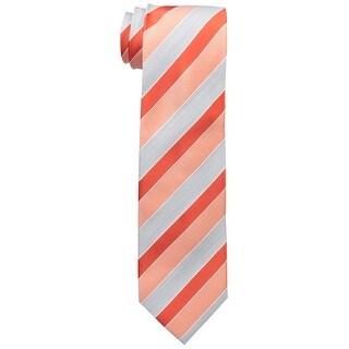 Geoffrey Beene NEW Orange Silver Stripe Of The Moment Neck Tie Silk
