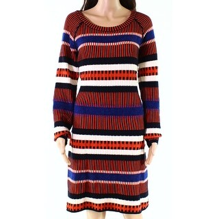 Tory Burch Black Womens Size Large L Ribbed Striped Sweater Dress