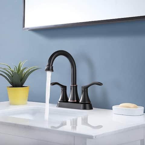 PROOX Bathroom Faucet 4 inches Lavatory Faucet Swivel Spout Centerset Bathroom Sink Faucet 3 holes with Pop Up Drain