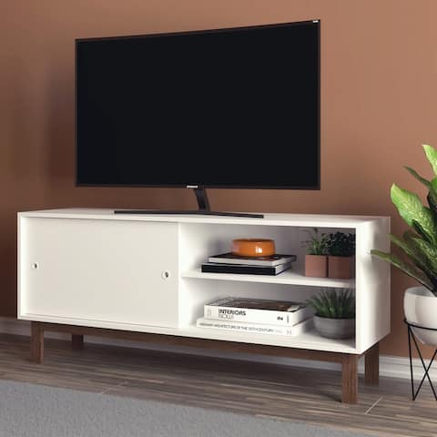 "Boahaus Dallas Media Stand, White, TV up to 46"", 1 door, 4 shelves - 50 inches"
