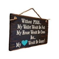 Cowboy Sign Wood Wall Hanging Without Pigs Clean Empty Rope Black