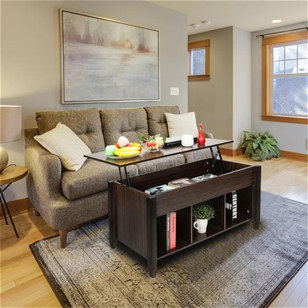 Lift Top Coffee Table Modern Furniture Hidden Compartment and Lift Tabletop Brown - 41.1 x 19.5 x 19.3-24.6 inches. Opens flyout.