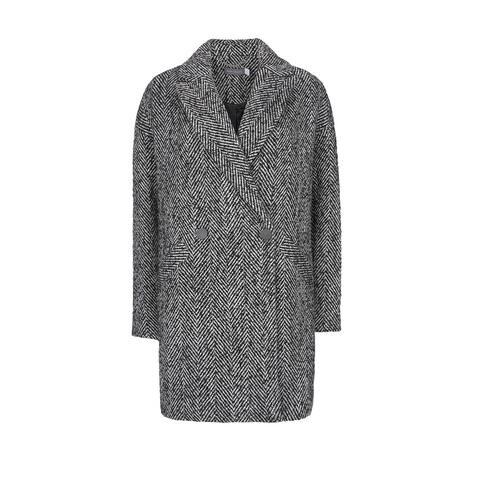Mint Velvet Women's Coat Black Size 16 Herringbone Double-Breasted
