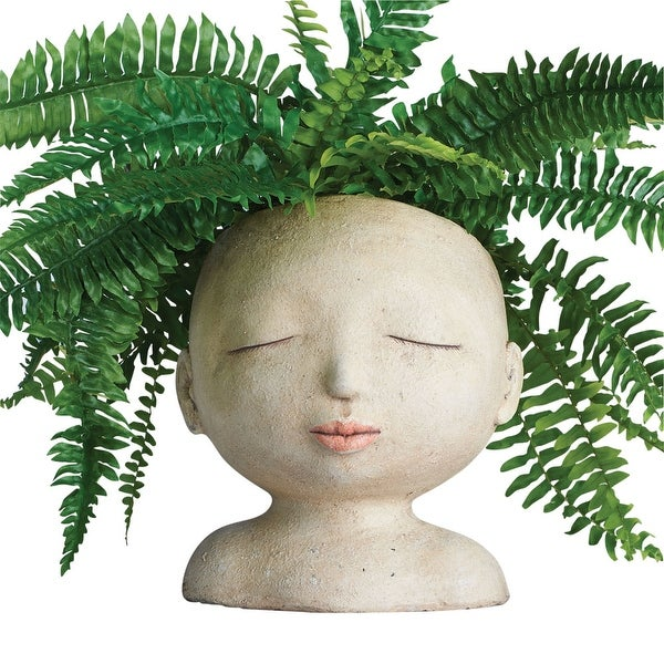Head of a Lady Indoor/Outdoor Resin Planter - 8 in. x 9 in. x 8 in.