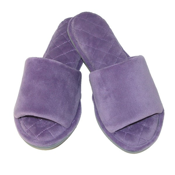 Dearfoams Women's Microfiber Velour Slide Slippers