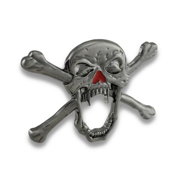 Creepy Vampire Skull & Crossbones Belt Buckle