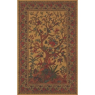 Cotton Tree of Life Tapestry Wall Hanging Tablecloth Rectangular Bedspread Queen Coverlet Gold