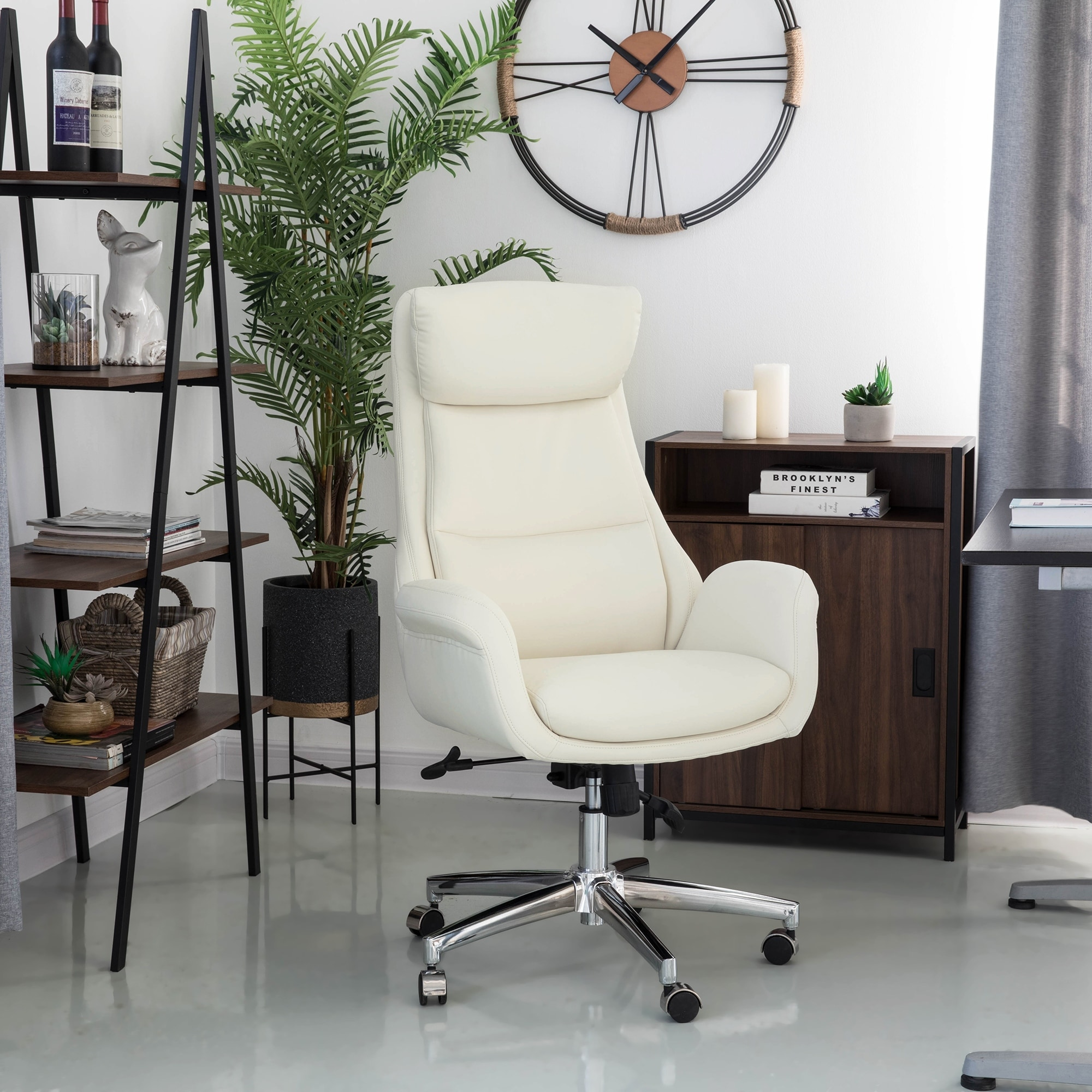 Shop Glitzhome Mid Century Modern Leatherette Adjustable Office Chair On Sale Overstock 19220425