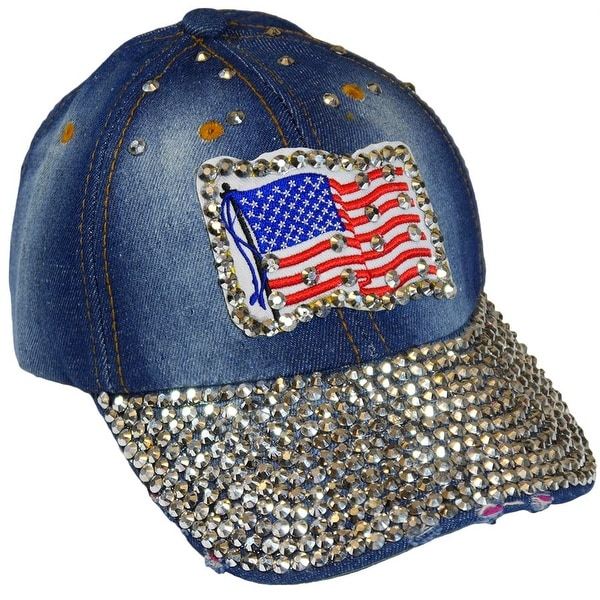 American Flag Sparkling Bedazzled Studded Patriotic Baseball Cap Hat, Denim, Light Blue