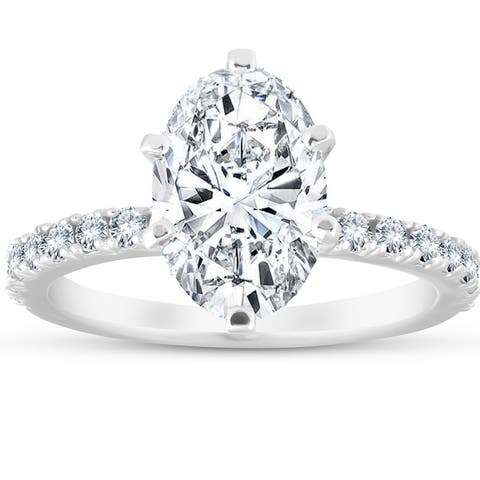 3 Ct Oval Diamond Engagement Ring 14k White Gold Clarity Enhanced