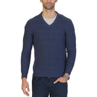 Nautica Mens Pullover Sweater Ribbed V Neck