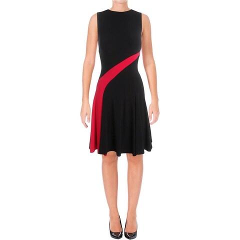 Lauren Ralph Lauren Womens Tashi Casual Dress Matte Jersey Colorblock