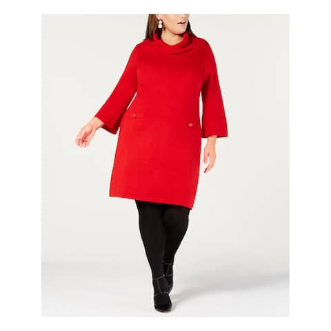 JESSICA HOWARD Womens Red Sweater Long Sleeve Cowl Neck Above The Knee Dress Plus Size: 2X