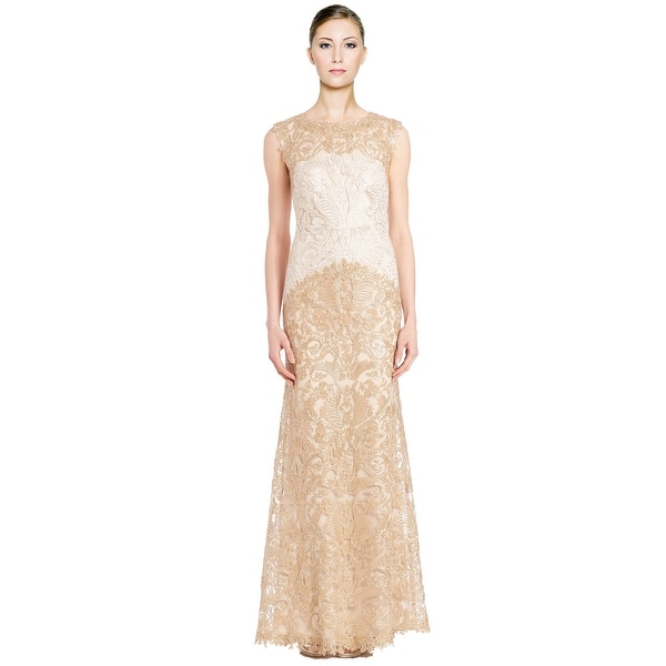 73fcb022ed3d Tadashi Shoji Embroidered Corded Lace Long Evening Gown Dress Ivory/Gold