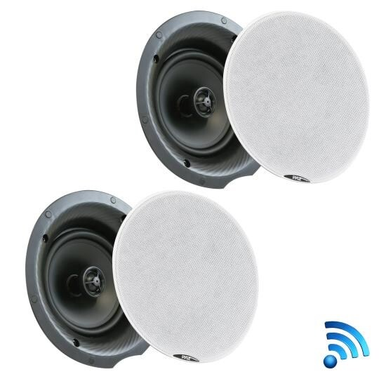 Dual 8.0'' Bluetooth Ceiling / Wall Speaker Kit, (2) Flush Mount 2-Way Speakers, 400 Watt