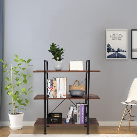 3-Tier Industrial Wood and Metal Bookcase Book Shelves Brown