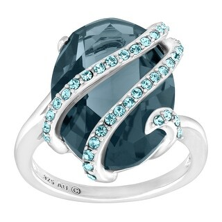 Crystaluxe Cocktail Ring with Sky Blue Swarovski Crystals in Sterling Silver