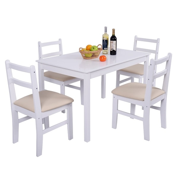 5 Pcs Pine Wood Dining Table And Chairs Dining Table Set: Shop Costway 5 Pcs Pine Wood Dining Table Set 4