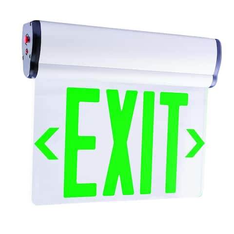 "Elco EDGLIT1 Single Face 12"" Wide Edge Lit Recessed LED Exit Sign -"