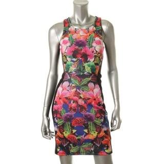 Aqua Womens Casual Dress Floral Print Colorblock - m