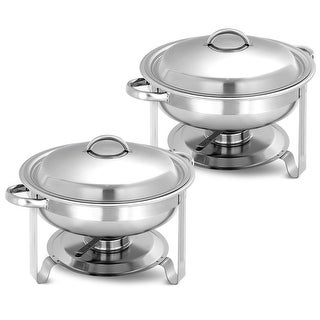 Costway 2 Pack Stainless Steel Round Chafing Dish Full Size Tray 5 Quart Buffet Catering