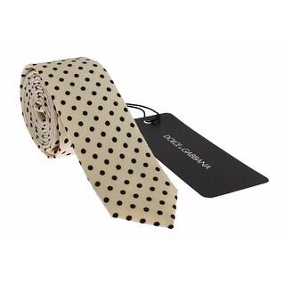 Dolce & Gabbana White Black Polka Dot Silk Slim Tie - One size