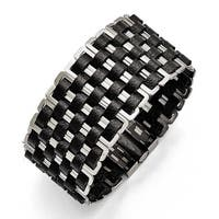 Chisel Stainless Steel Polished Woven Black Leather Bracelet