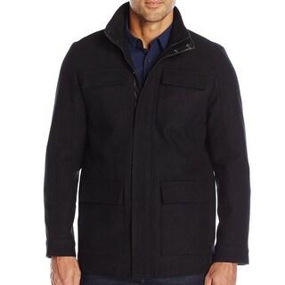 Calvin Klein NEW Black Mens Size XL Full-Zip Stand-Collar Wool Coat