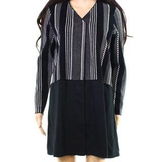 Alfani Black Women's Size Large L Striped Contrast-Hem Jacket