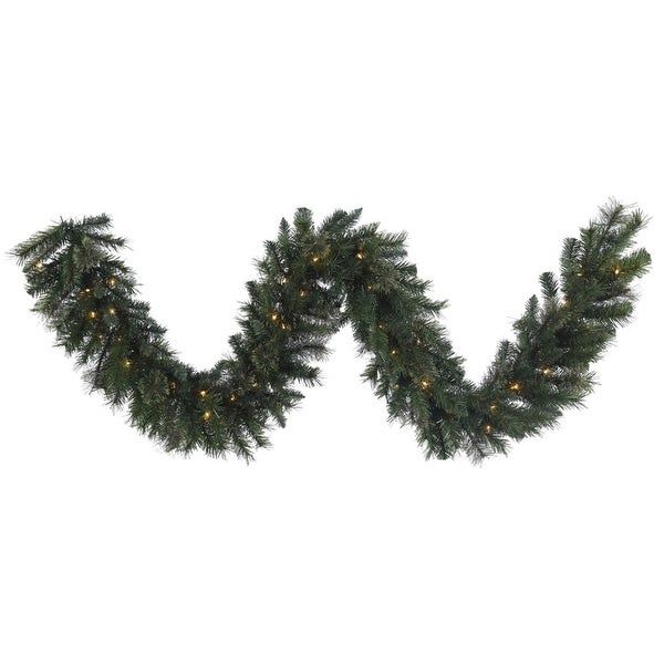"9' x 14"" Pre-Lit Green Butte Mixed Pine Decorative Artificial Christmas Garland - Clear Lights"