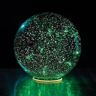 Lighted Mercury Glass Ball Sphere - Green - Large