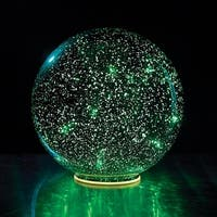 Lighted Mercury Glass Ball Sphere - Green
