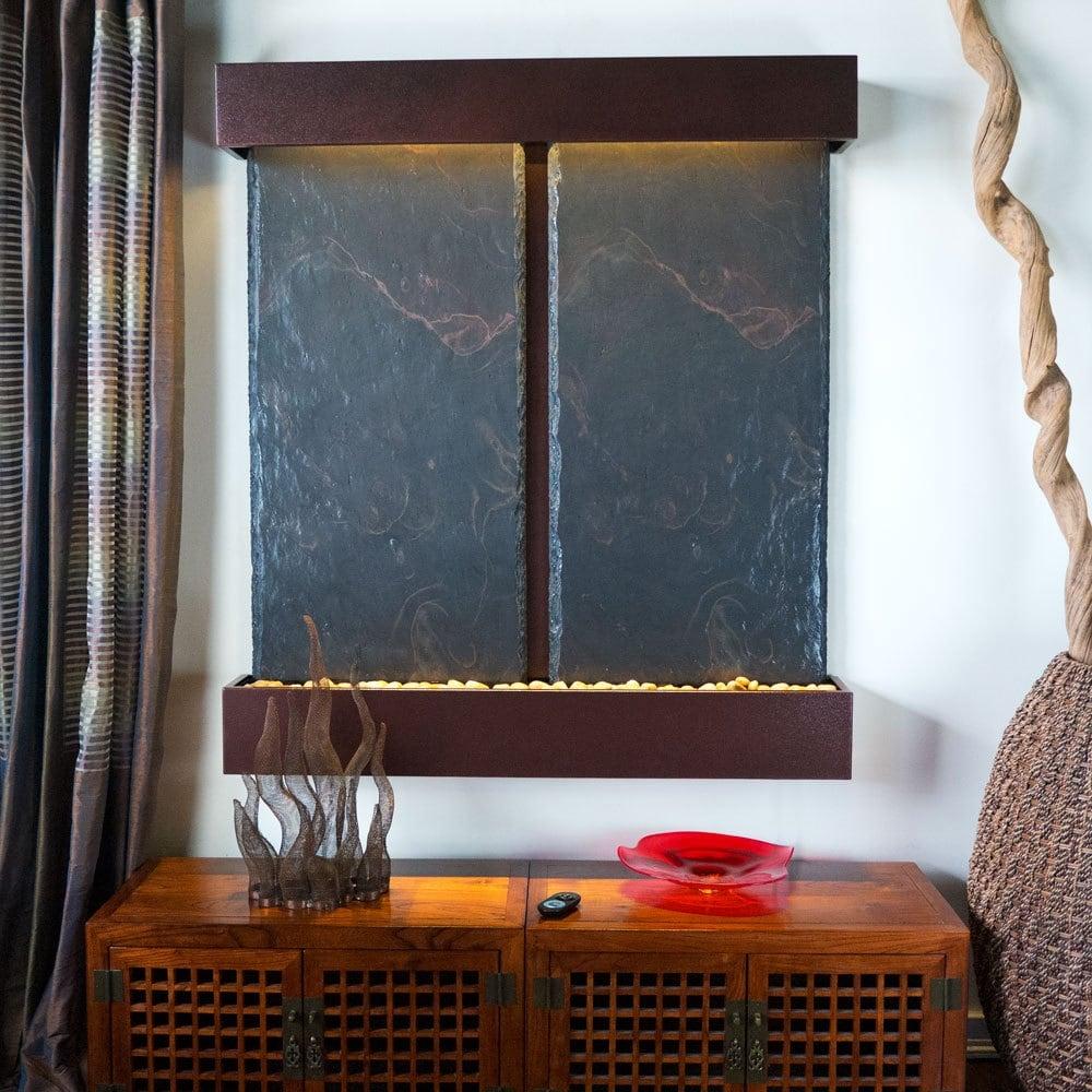 Nojoqui Falls Lightweight Double NSI Slate Fountain Shroud Finish: Copper Vei... - Thumbnail 0