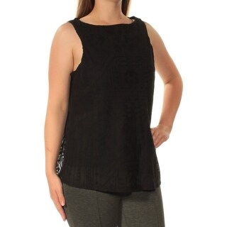 Womens Black Sleeveless Boat Neck Casual Top Size M
