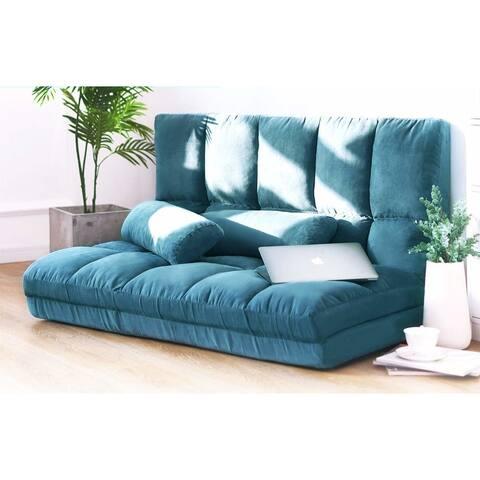 Merax Blue Small 5-position Adjustable/Folding Floor Loveseat with 2 Pillows
