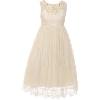 Flower Girl Dress Lace & 3D Flower Neckline Ivory CC 5036