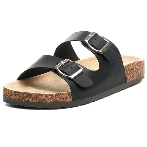 Alpine Swiss Womens Casual Double Strap Slide Sandals